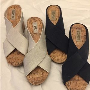Well loved ESPRIT Wedge sandals in White & Navy x2